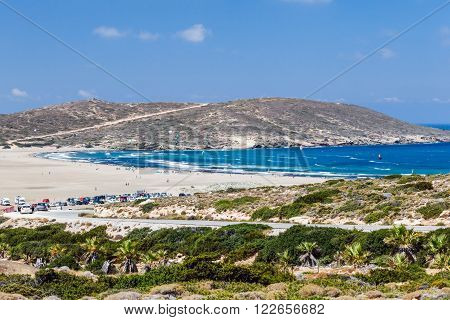 Beach Prasonisi. Rhodes Island. Greece. Prasonisi confluence of the Aegean and Mediterranean seas. The place for windsurfers and kitesurfers from around the world.