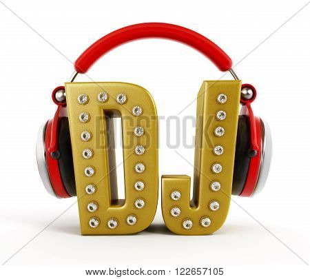 Red headphones on gold DJ word isolated on white background.