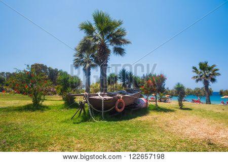 Greece, Rhodes - July 16 Beach territory Dionysos Steki Restauran on July 16, 2014 in Rhodes, Greece