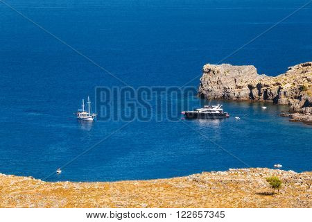 Ships in the Bay of Lindos. Rhodes Island. Greece