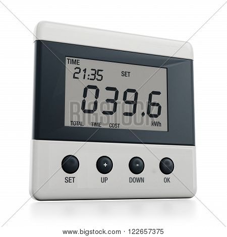 White energy meter isolated on white background