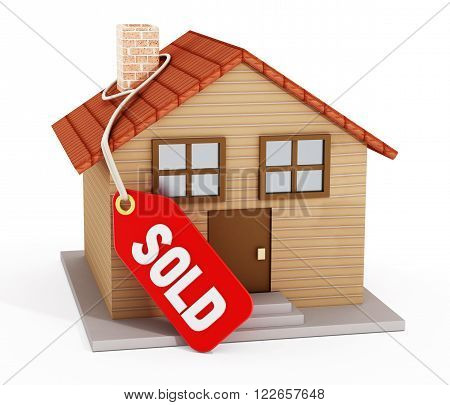 House with sold tag isolated on white background.