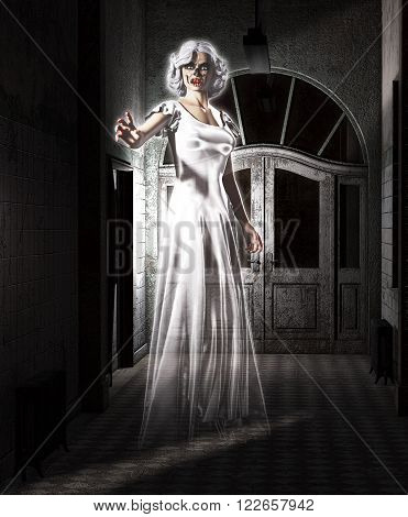 3D illustration of a female ghost floating in an abandoned insane asylum.