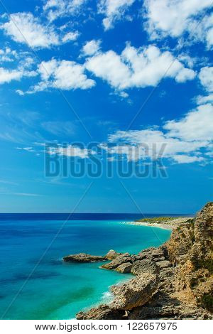 Beautiful view of Ionian sea with rocky beach. high angle