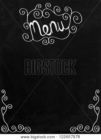 A digitally created chalkboard with white chalk swirl border and MENU text. Drawn in a loose doodle style.