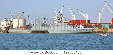 GULF OF ADEN, DJIBOUTI - FEBRUARY 08, 2016: EU WARSHIP F-262, German multipurpose corvette, (Braunschweig-class) in the port of Djibouti