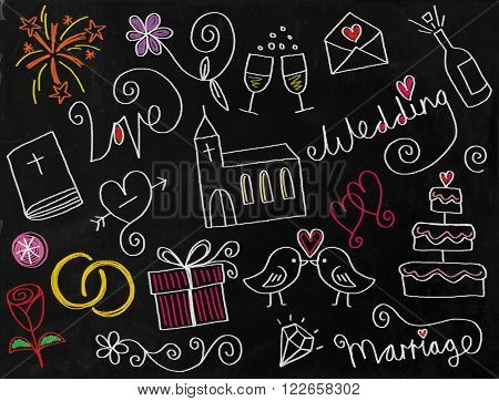 A digitally created chalkboard with a set of hand drawn doodle wedding icons.