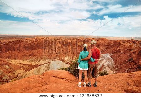 Couple at the Vulcano Crater Colorado USA