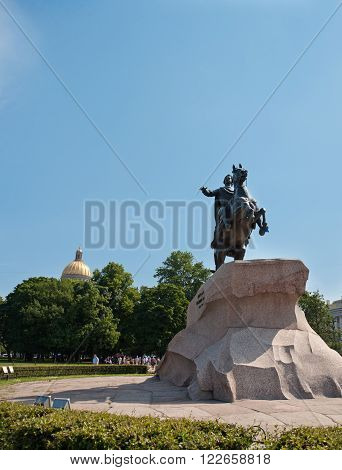 The monument to Peter the Great the Bronze Horseman in Staint-Petersburg Russia