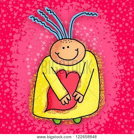 Cute cartoon doodle of a happy person holding a love heart shape.