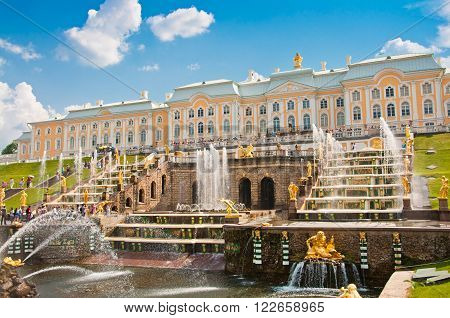 Grand Cascade In Petergof, St Petersburg, Russia