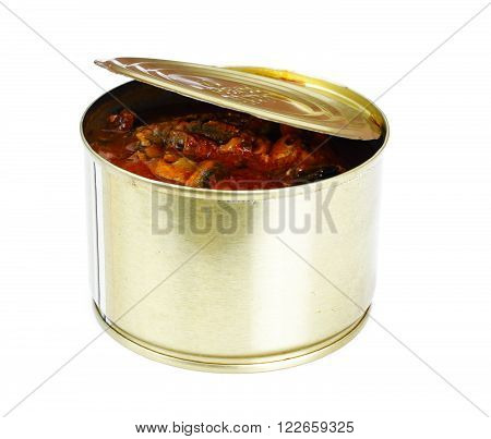 Canned Fish Sprat in Tomato Sauce Isolated on White Background Studio Photo