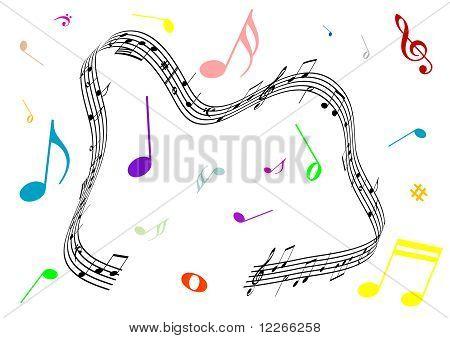 Abstrakte Abbildung einer Stabkirche und Musik Noten