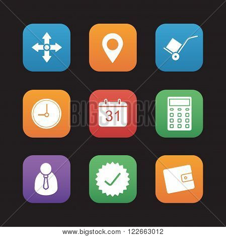 Delivery service flat design icons set. Shipping and logistic. Online package tracking app graphic interface. Navigation map pinpoint, hand truck, store and warehouse symbols. Vector