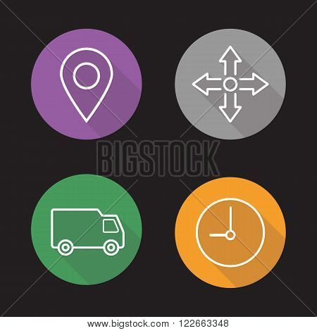 Delivery service flat linear icons set. Map navigation pinpoint and package transportation. Cargo van and clock storehouse symbols. Long shadow outline logo concepts. Vector line art illustrations