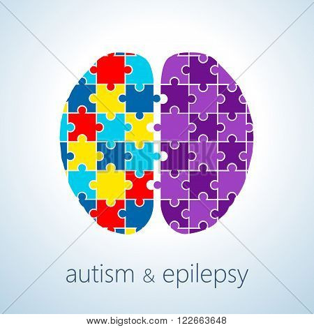 Vector illustration of autism and epilepsy connection concept , autism awareness day