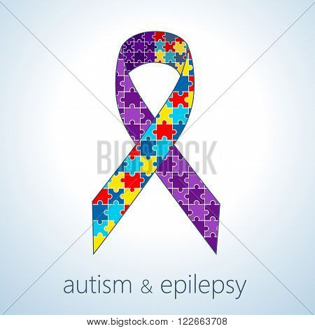 Vector illustration of autism and epilepsy connection concept, awareness ribbon