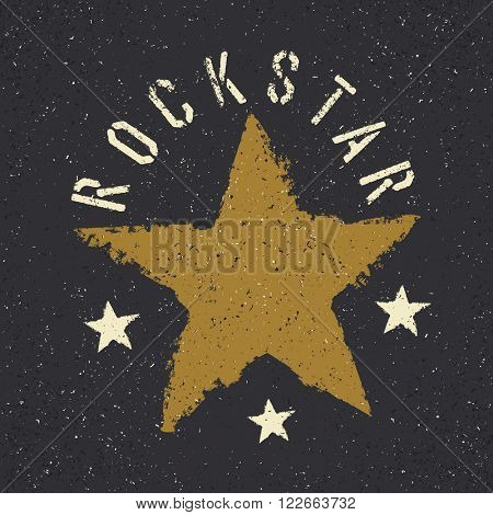 Rockstar. Grunge star with lettering. Tee print design template. Raster version.