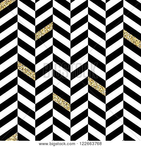 Classic Seamless Chevron Pattern. With Glittering Golden Parts. Raster version.