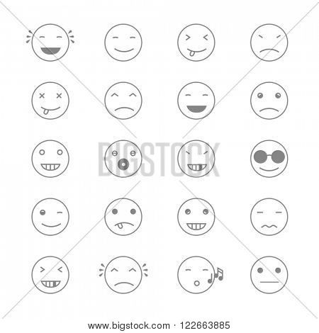 Emoticons Collection. Set of Emoji. Flat monochrome style. Different Emoticons. Raster version.