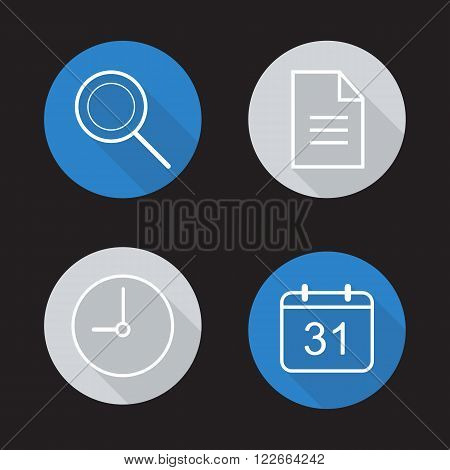 Organiser app flat linear icons set. Search tool, clock, organiser and calendar application symbols. Long shadow outline logo concepts. Vector line art illustrations