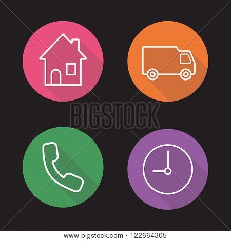 Delivery flat linear icons set. Home, van, call now and clock symbols. Cargo shipment service items. Long shadow outline logo concepts. Vector line art illustrations