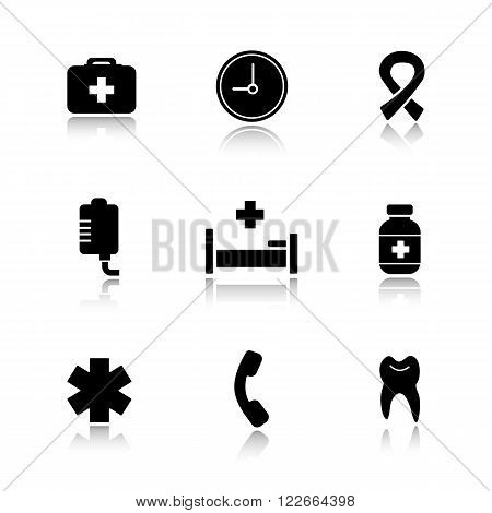 Hospital  drop shadow icons set. Medical healthcare center. First aid medicine chest and drop counter. Ambulance star of life, pills bottle and aids ribbon signs. Logo concepts. Vector illustrations
