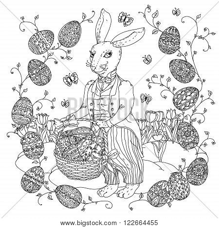 Easter Bunny with Easter eggs to the upcoming holiday, black and white outline illustration. The best for your design, textiles, posters,  coloring book