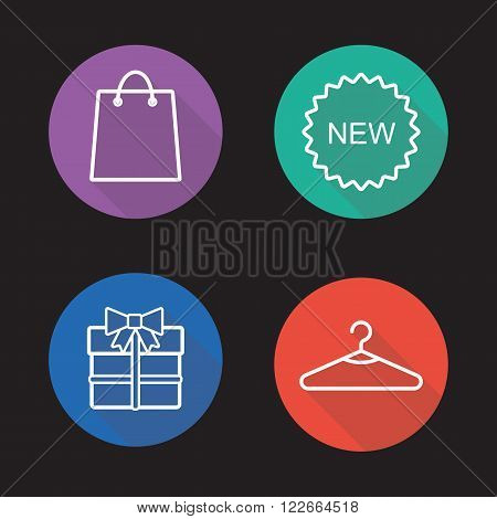 Holiday shopping flat linear icons set. Shopping bag, new badge, gift box and hanger symbols. Clothing store items. Long shadow outline logo concepts. Vector line art illustrations