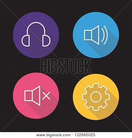 Audio player flat linear icons set. Headphones, preference gear, volume on and off symbols. Sound control interface buttons. Long shadow outline logo concepts. Vector line art illustrations