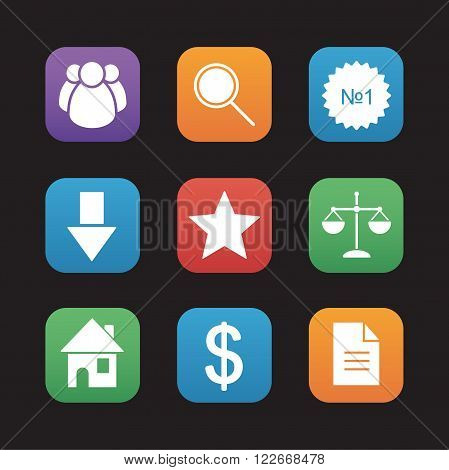 E-commerce and marketing flat design icons set. Business web application interface buttons. Comparison scales, magnifying glass, number 1 badge and people group symbol. Vector
