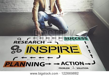 Inspire Research Planning Action Success Concept