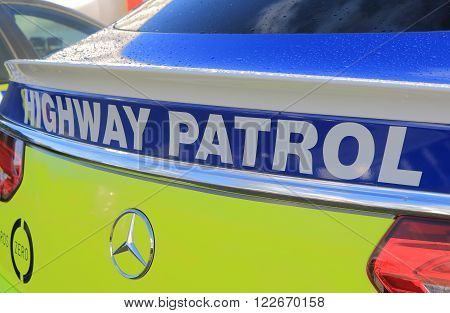 MELBOURNE AUSTRALIA - MARCH 18, 2016: Australian Police Highway patrol car. Australian Police is responsible for safety of Australian residence.