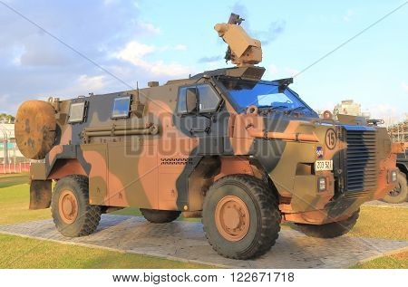 MELBOURNE AUSTRALIA - MARCH 18, 2016: Army military vehicle Australia display in Melbourne Australia.