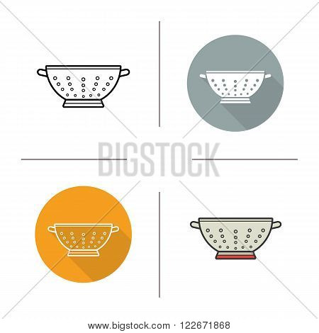 Sieve flat design, linear and color icons set. Contour and long shadow logo concepts. Isolated vector illustrations. Bolter icon. Kitchen tools items. Cooking equipment. Cuisine instruments