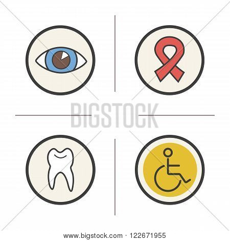 Medical color icons set. Ophthalmologist doctor eye sight symbols. HIV aids awareness ribbon. Dentist and stomatology tooth symbol and wheelchair icon. Logo concepts. Vector isolated illustrations