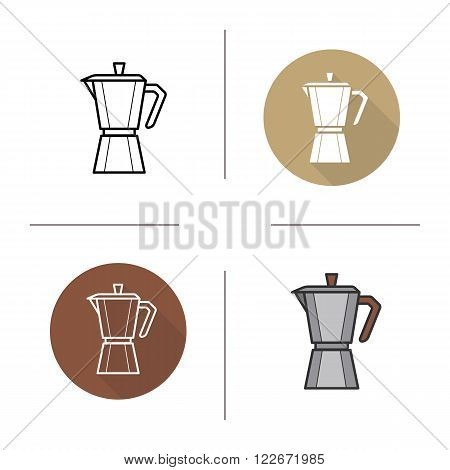 Classic coffee maker flat design, linear and color icons set. Moka pot symbols. Contour and long shadow logo concepts. Isolated vector illustrations
