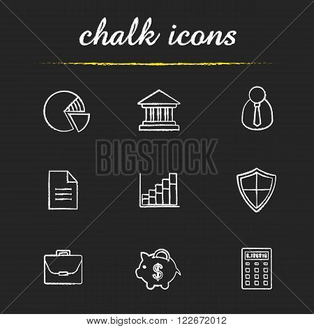 Banking and finance chalk icons set. Online banking customer service icons. Bank building, money saving piggy bank and income diagram. White illustrations on blackboard. Vector chalkboard logo concept