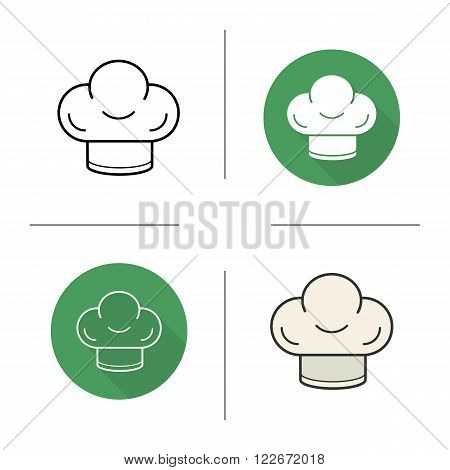 Chef's hat flat design, linear and color icons set. Restaurant chef uniform. Kitchen tools items. Cooking equipment. Contour and long shadow logo concepts. Isolated vector illustrations