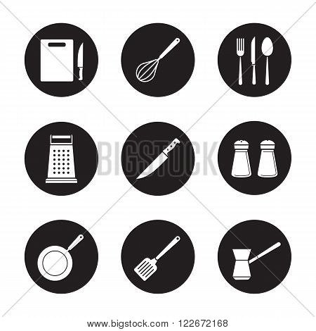 Kitchenware black icons set. White silhouettes illustrations. Cutting board, grater, frying pan and spatula icons. Kitchen tools items. Cooking equipment. Cuisine instruments. Vector logo concepts.