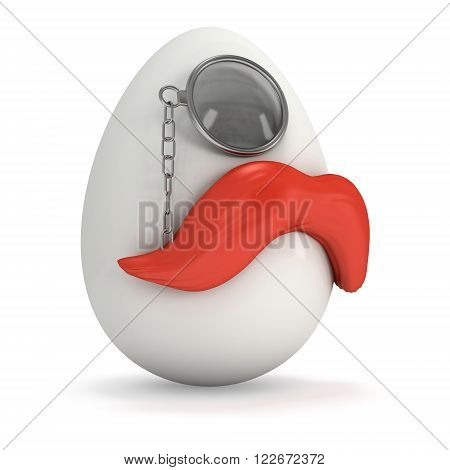 Easter Egg with red mustache and monocle. Hipster Easter. 3d render isolated on white background.