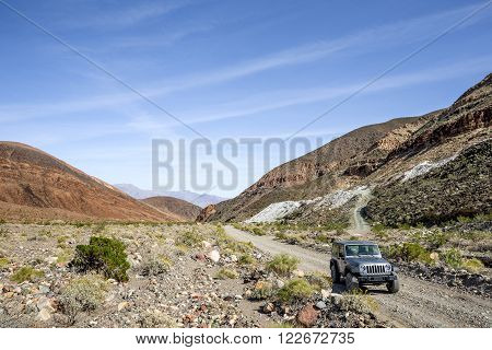 Death Valley, CA - March 15 2016: The backcountry road along Warm Springs Canyon in Death Valley National Park connects multiple mining sites.