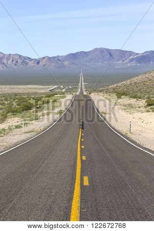 A panoramic view of State Route 374 runing from Beatty Nevada to Death Valley California