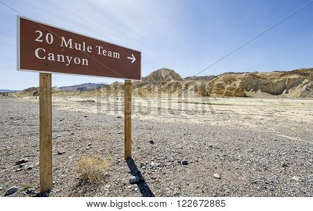 A view of the 20 Mule Team Canyon in Death Valley National Park.