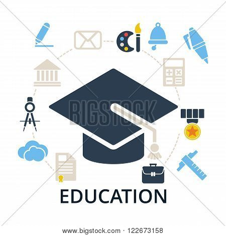 Graduation cap with education icons. Academic hat and icons for education training and tutorials. Education flat vector illustration on white.