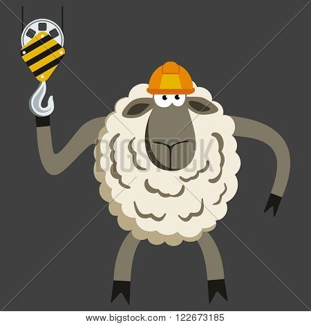 Stubborn Lamb Builder. Sheep professional character. Vector illustration of stubborn constraction worker.