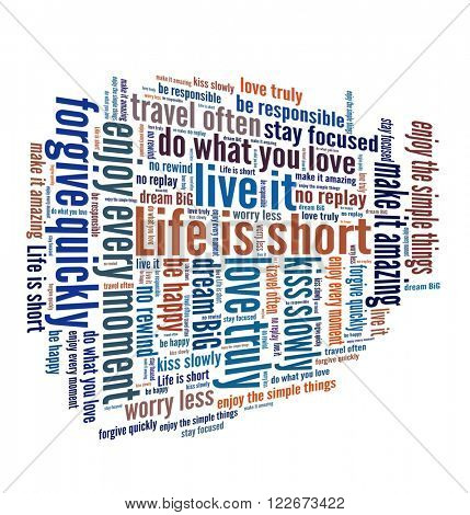 Life is short concept in word collage