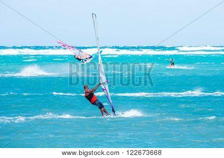 Boracay island, Philippines - January 26: windsurfers enjoying wind power on Bulabog beach on January 26, 2016, Boracay island, Philippines.