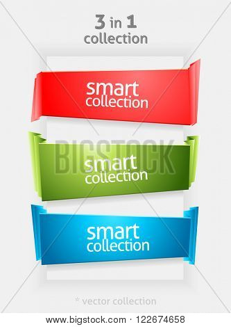 Vector Ribbon and Banner Collection with place for Your Text. Vector Color Bookmarks. Infographycs