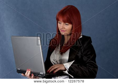 Pretty Bussines Woman  Working With Laptop